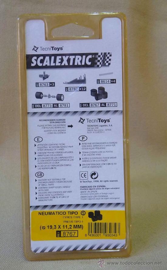 Scalextric: NEUMATICOS, ORIGINAL SCALEXTRIC, TIPO 1, 19,3 X 11, 2 CM, mm, REF: 8767 - Foto 3 - 24196624