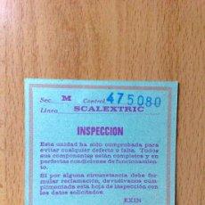 Scalextric: TARJETA DE INSPECCION SCALEXTRIC EXIN. Lote 29553791