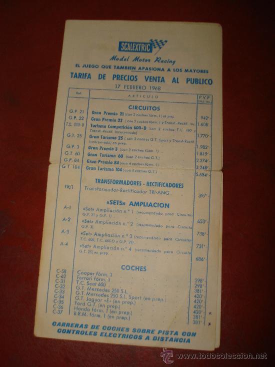 ANTIGUA TARIFA DE PRECIOS VENTA AL PUBLICO SCALEXTRIC EXIN DEL 17 FEBRERO DE 1968. (Juguetes - Slot Cars - Scalextric Pistas y Accesorios)