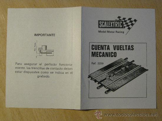SCALEXTRIC. HOJA DE INSTRUCCIONES. CUENTA VUELTAS MECANICO. REF. 3259. EXIN. (Juguetes - Slot Cars - Scalextric Pistas y Accesorios)