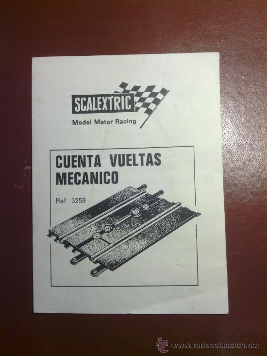 SCALEXTRIC. INSTRUCCIONES.CUENTA VUELTAS MECANICO.REF.3259. (Juguetes - Slot Cars - Scalextric Pistas y Accesorios)