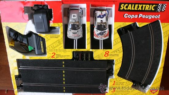 Scalextric: SCALEXTRIC COPA PEUGEOT EN SU CAJA ORIGINAL EN DE FUNCIONAMIENTO - Foto 2 - 36887159
