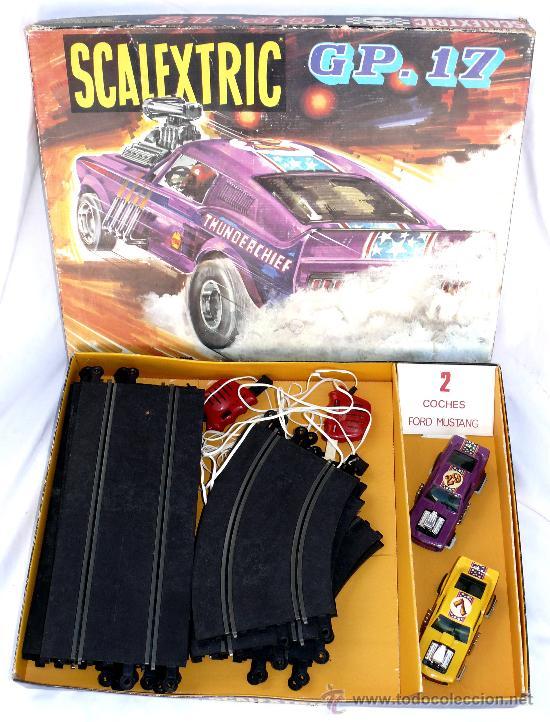 DIFICIL! ANTIGUO SCALEXTRIC EXIN AÑOS 70 GP 17 COHE FORD MUSTANG DRAGSTER AMARILLO Y LILA (Juguetes - Slot Cars - Scalextric Pistas y Accesorios)
