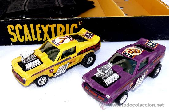 Scalextric: DIFICIL! ANTIGUO SCALEXTRIC EXIN AÑOS 70 GP 17 COHE FORD MUSTANG DRAGSTER AMARILLO Y LILA - Foto 2 - 53084616