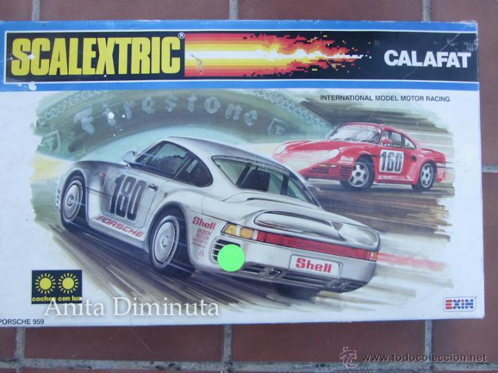 ANTIGUO CIRCUITO Y CAJA COMPLETA DE EXIN - SCALEXTRIC CALAFAT - AÑOS 80 - CON SUS DOS PORSCHE 959 C (Juguetes - Slot Cars - Scalextric Pistas y Accesorios)