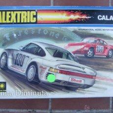 Scalextric: ANTIGUO CIRCUITO Y CAJA COMPLETA DE EXIN - SCALEXTRIC CALAFAT - AÑOS 80 - CON SUS DOS PORSCHE 959 C. Lote 40168588