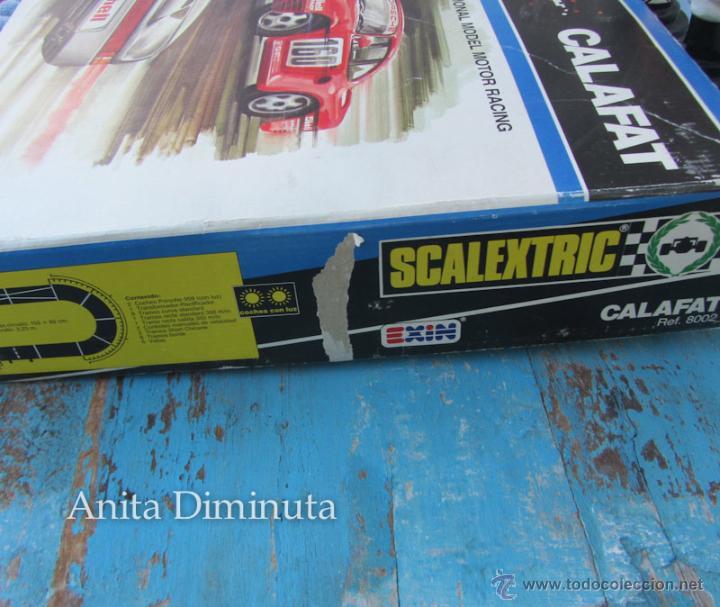 Scalextric: ANTIGUO CIRCUITO Y CAJA COMPLETA DE EXIN - SCALEXTRIC CALAFAT - AÑOS 80 - CON SUS DOS PORSCHE 959 C - Foto 19 - 40168588
