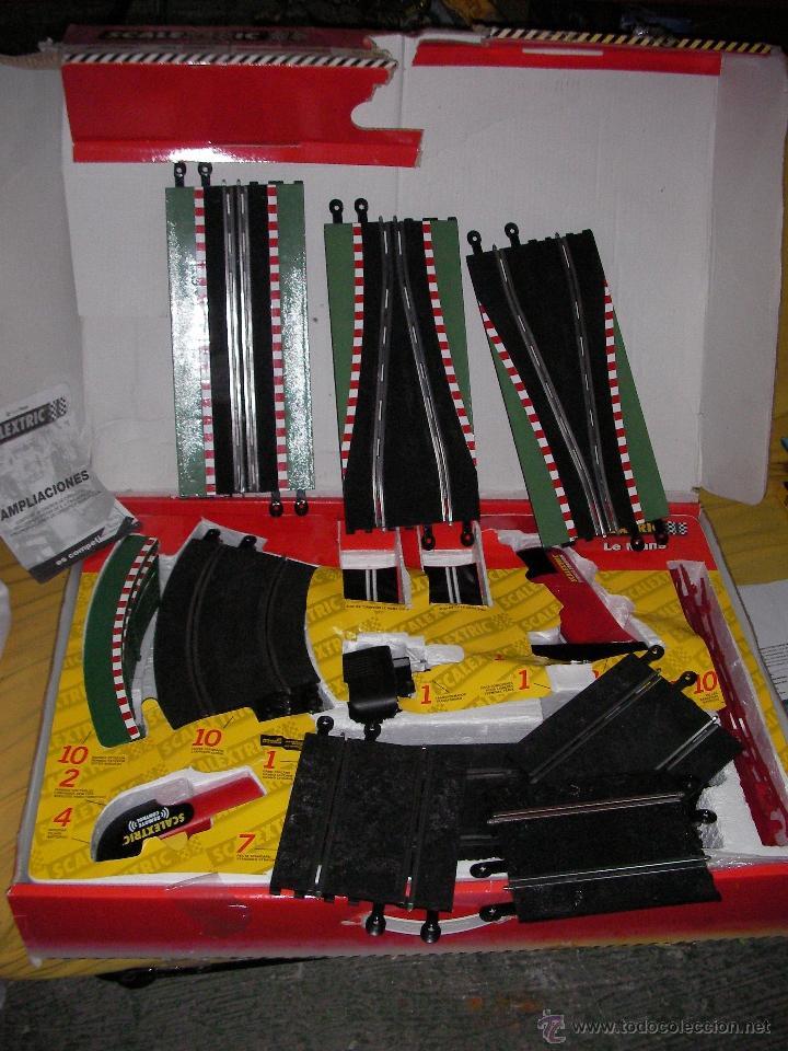 CIRCUITO LE MANS - MANDOS SIN CABLES - 6,45 MTOS - PUENTE Y SUPER TRANSFORMADOR COMO NUEVO (Juguetes - Slot Cars - Scalextric Pistas y Accesorios)