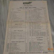 Scalextric: TARIFA DE PRECIOS VENTA AL PUBLICO SCALEXTRIC ( 1970 ). Lote 41690535