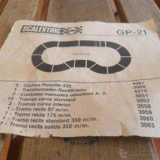 Scalextric: PAPEL DEL CONTENIDO DEL CIRCUITO GP 21 DE SCALEXTRIC EXIN . Lote 44085143