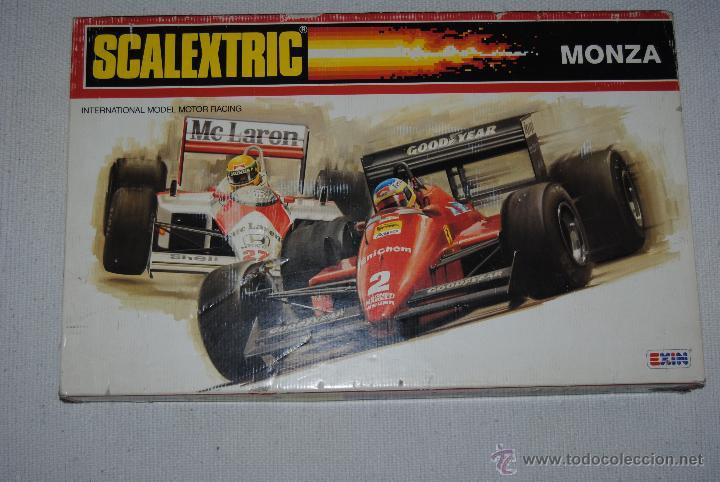 SCALEXTRIC MONZA DOS COCHES 1 FERRARI F1/87 ROJO Y 1 MCLAREN MP4 AZUL (Juguetes - Slot Cars - Scalextric Pistas y Accesorios)