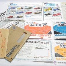 Scalextric: SOBRE CON CATALOGO DE COCHES SCALEXTRIC 1968 Y 69, 3 CATALOGOS DE CIRCUITOS (3,4 Y 5 EDICION) + HOJA. Lote 50450591