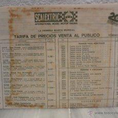 Scalextric: HOJA TARIFA DE PRECIOS SCALEXTRIC - FEBRERO 1982. Lote 50727584
