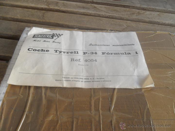 DOCUMENTO INSTRUCCIONES MANTENIMIENTO COCHE TYRRELL P 34 DE SCALEXTRIC EXIN (Juguetes - Slot Cars - Scalextric Pistas y Accesorios)