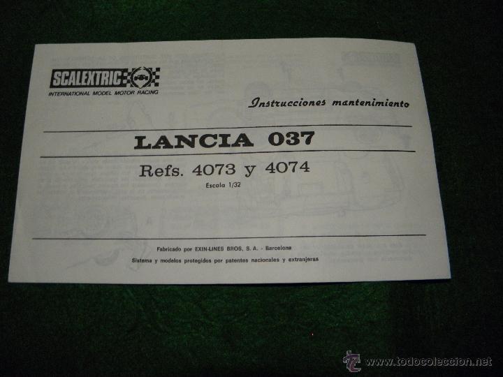 INSTRUCCIONES COCHE LANCIA O37 DE SCALEXTRIC (Juguetes - Slot Cars - Scalextric Pistas y Accesorios)