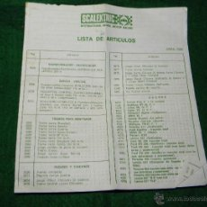 Scalextric: LISTA DE ARTICULOS ABRIL 1988 DE SCALEXTRIC . Lote 54952459