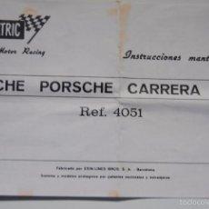 Scalextric: INSTRUCCIONES MANTENIMIENTO COCHE SCALEXTRIC PORSCHE CARRERA RS REF 4051. Lote 56664710