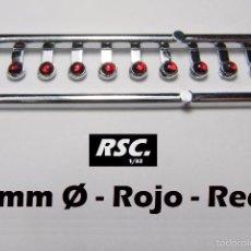 Scalextric: 10 FAROS ROJOS 2 MM CON ARO CROMADO - 1/32 - 1/24 - 1/43 - KIT RESINA FARO ROJO. Lote 89810515