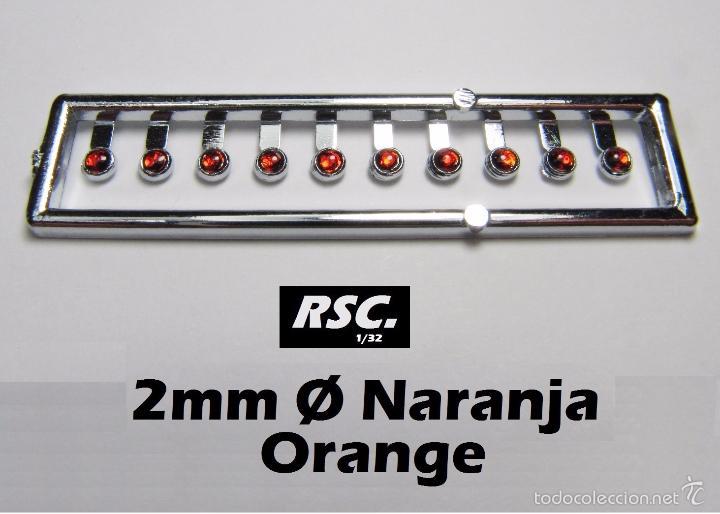 10 FAROS NARANJA 2 MM CON ARO CROMADO - 1/32 - 1/24 - 1/43 - KIT RESINA RING LIGHTS LENSES (Juguetes - Slot Cars - Scalextric Pistas y Accesorios)