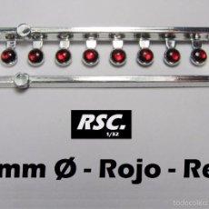 Scalextric: 8 FAROS ROJOS 3 MM CON ARO CROMADO - 1/32 - 1/24 - 1/43 - KIT RESINA FARO ROJO. Lote 86171303