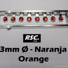 Scalextric: 8 FAROS NARANJAS 3 MM CON ARO CROMADO - 1/32 - 1/24 - 1/43 - KIT RESINA FARO NARANJA. Lote 144596137
