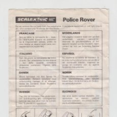 Scalextric: SCALEXTRIC INSTRUCCIONES MANTENIMIENTO COCHE POLICE ROVER + STOX Y MINI BANGER CARS. Lote 57667611