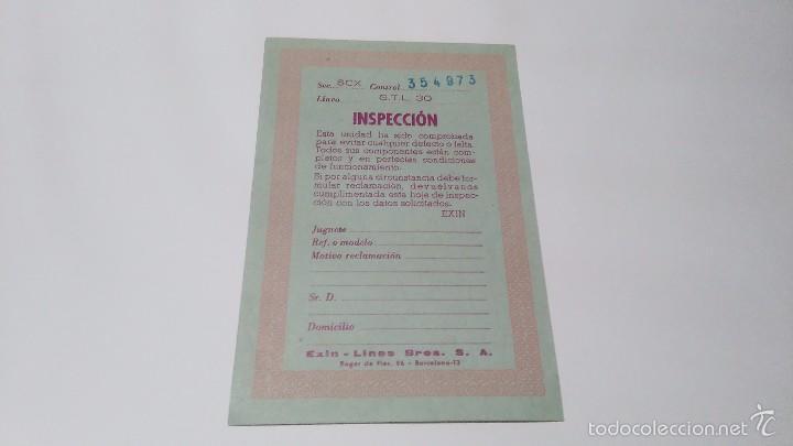 SLOT 1:32 SCX SCALEXTRIC EXIN TARJETA DE INSPECCION CIRCUITO GTL 30 DE 1973 (Juguetes - Slot Cars - Scalextric Pistas y Accesorios)