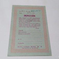 Scalextric: SLOT 1:32 SCX SCALEXTRIC EXIN TARJETA DE INSPECCION CIRCUITO GTL 30 DE 1973. Lote 57926024