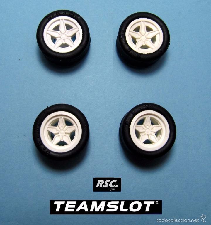TEAM SLOT 1:32 LANCIA STRATOS 4 LLANTAS BLANCAS + 4 NEUMATICOS 2 DELANTERAS + 2 TRASERAS - FERRARI (Juguetes - Slot Cars - Scalextric Pistas y Accesorios)