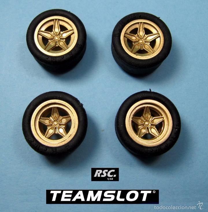 TEAM SLOT 1:32 LANCIA STRATOS 4 LLANTAS DORADAS + 4 NEUMATICOS - 2 DELANTERAS + 2 TRASERAS - FERRARI (Juguetes - Slot Cars - Scalextric Pistas y Accesorios)