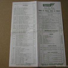 Scalextric: TARIFAS DE PRECIOS VENTA AL PÚBLICO 15 FEBRERO 1969 SCALEXTRIC EXIN. Lote 58530904