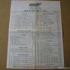 Scalextric: TARIFAS DE PRECIOS VENTA AL PÚBLICO 1 OCTUBRE 1969 SCALEXTRIC EXIN. Lote 58530925
