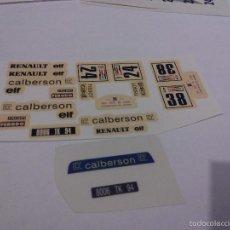 Scalextric: SCALEXTRIC EXIN CALCA RENAULT 5 CARLBERSON PARA LOS DOS NUMEROS CON PARABRISAS Y MATRICULA ADHESIVO. Lote 183586790