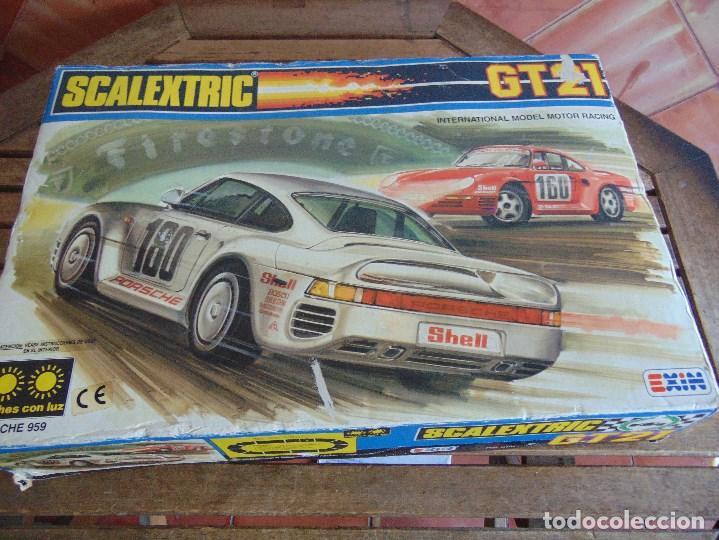Scalextric: CIRCUITO CAJA DE SCALEXTRIC EXIN GT 21 CON LOS PORSCHE 959 ROJO Y BLANCO - Foto 5 - 68530949
