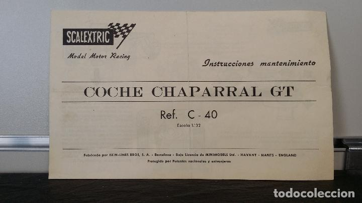 INSTRUCCIONES MANTENIMIENTO CHAPARRAL GT EXIN SCALEXTRIC (Juguetes - Slot Cars - Scalextric Pistas y Accesorios)