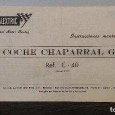 Scalextric: INSTRUCCIONES MANTENIMIENTO CHAPARRAL GT EXIN SCALEXTRIC. Lote 70307333