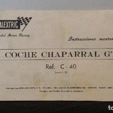Scalextric: INSTRUCCIONES MANTENIMIENTO CHAPARRAL GT EXIN SCALEXTRIC. Lote 70307485