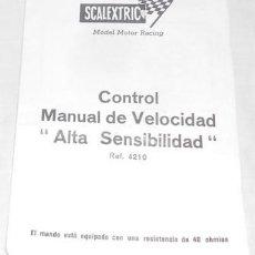 Scalextric: CONTROL, MANUAL DE VELOCIDAD ALTA SENSIBILIDAD, SCALEXTRIC. Lote 75033371