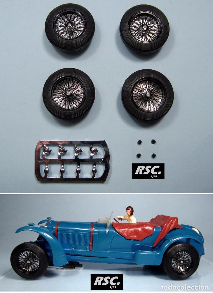 BRM 1/32 - LLANTAS RADIOS ALEACIÓN 23 PULGADAS NEGRAS + 4 NEUMÁTICOS 25,5X7MM SCALEXTRIC PINK KAR (Juguetes - Slot Cars - Scalextric Pistas y Accesorios)