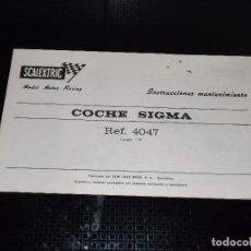 Scalextric: INSTRUCCIONES DE MANTENIMIENTO DEL SIGMA. Lote 92170975