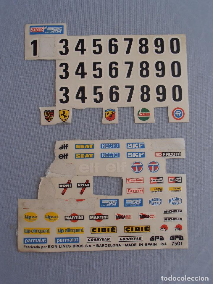 LOTE PEGATINAS CALCAS SCALEXTRIC EXIN (Juguetes - Slot Cars - Scalextric Pistas y Accesorios)