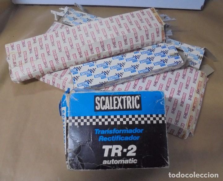 LOTE DE ACCESORIOS DE SCALEXTRIC. CON CAJAS. VIAS, TRANSFORMADOR, VARIOS. VER FOTOS (Juguetes - Slot Cars - Scalextric Pistas y Accesorios)