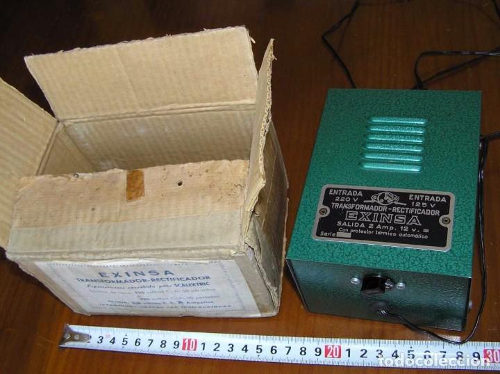 Scalextric: ANTIGUO TRANSFORMADOR RECTIFICADOR EXINSA EXIN 125 ó 220 Voltios PARA SCALEXTRIC CON SU CAJA AÑOS 60 - Foto 8 - 104018335