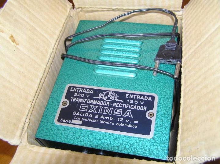 Scalextric: ANTIGUO TRANSFORMADOR RECTIFICADOR EXINSA EXIN 125 ó 220 Voltios PARA SCALEXTRIC CON SU CAJA AÑOS 60 - Foto 12 - 104018335