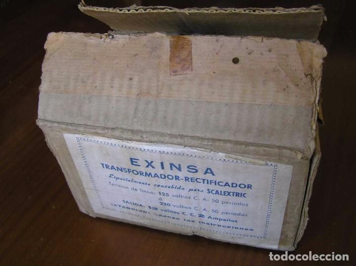 Scalextric: ANTIGUO TRANSFORMADOR RECTIFICADOR EXINSA EXIN 125 ó 220 Voltios PARA SCALEXTRIC CON SU CAJA AÑOS 60 - Foto 14 - 104018335