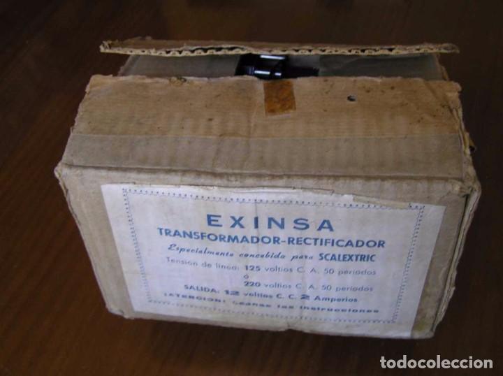 Scalextric: ANTIGUO TRANSFORMADOR RECTIFICADOR EXINSA EXIN 125 ó 220 Voltios PARA SCALEXTRIC CON SU CAJA AÑOS 60 - Foto 19 - 104018335