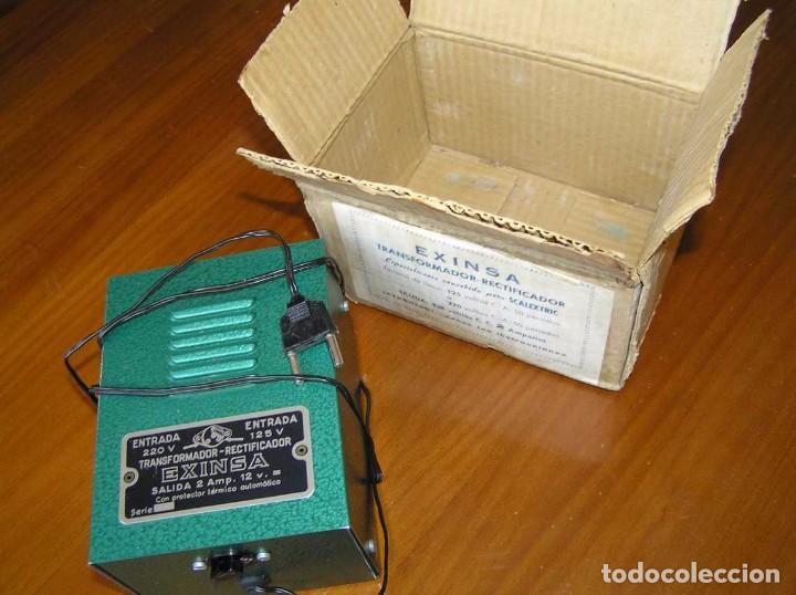 Scalextric: ANTIGUO TRANSFORMADOR RECTIFICADOR EXINSA EXIN 125 ó 220 Voltios PARA SCALEXTRIC CON SU CAJA AÑOS 60 - Foto 22 - 104018335