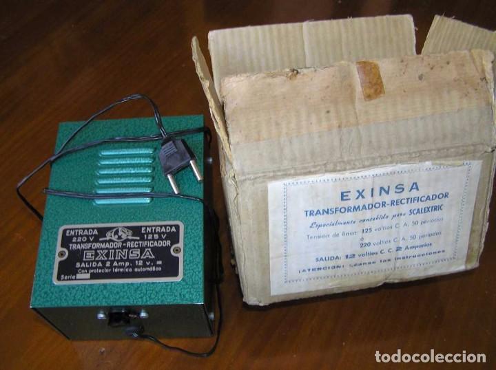Scalextric: ANTIGUO TRANSFORMADOR RECTIFICADOR EXINSA EXIN 125 ó 220 Voltios PARA SCALEXTRIC CON SU CAJA AÑOS 60 - Foto 23 - 104018335