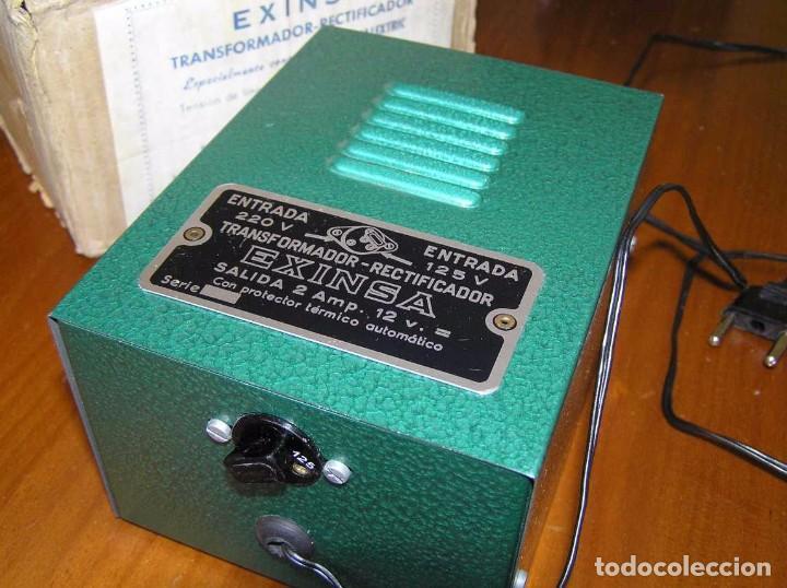Scalextric: ANTIGUO TRANSFORMADOR RECTIFICADOR EXINSA EXIN 125 ó 220 Voltios PARA SCALEXTRIC CON SU CAJA AÑOS 60 - Foto 41 - 104018335
