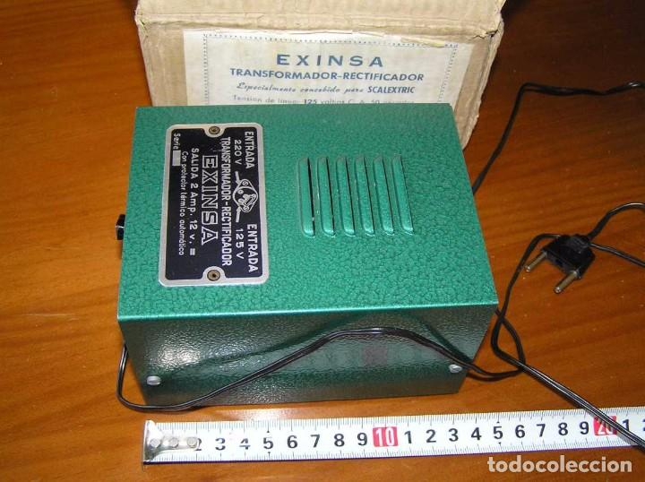 Scalextric: ANTIGUO TRANSFORMADOR RECTIFICADOR EXINSA EXIN 125 ó 220 Voltios PARA SCALEXTRIC CON SU CAJA AÑOS 60 - Foto 42 - 104018335
